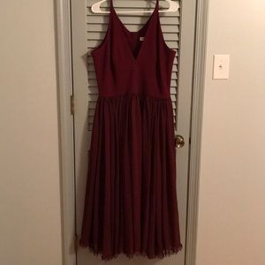 Nordstrom wine-colored chiffon midi dress